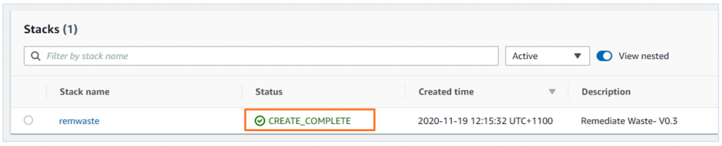 "Screenshot of CloudFormation Console highlighting the Status of ""Create Complete"" for a stack named ""remwaste"""