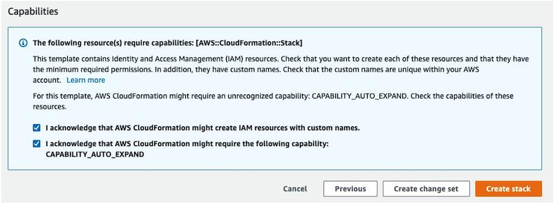CloudFormation console screenshot - capabilities section