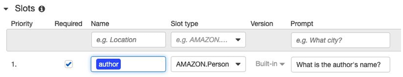 """Screenshot of Amazon Lex Console focused on the """"Slots"""" section"""