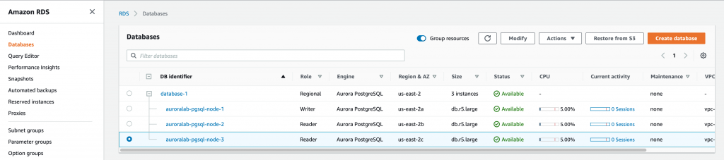 screenshot of Amazon RDS Console showing 3 instances. Instance auroralab-pgsql-node-3 is selected