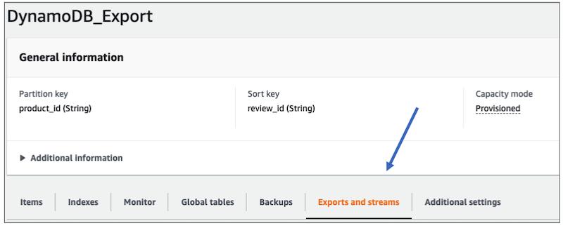 screenshot of the DynamoDB Console highlighting the tab 'Exports and streams'