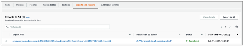 screenshot of the DynamoDB Console showing that the export job status is 'Complete'