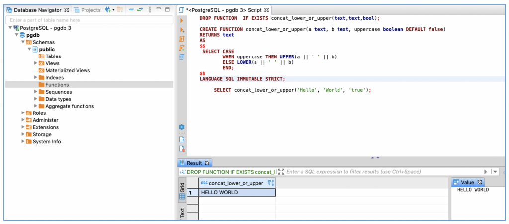 Screenshot of DBeaver showing the previous function and the output of a test execution.