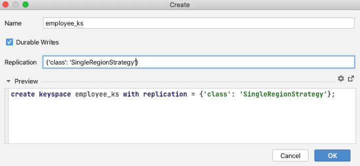 Create Keyspace