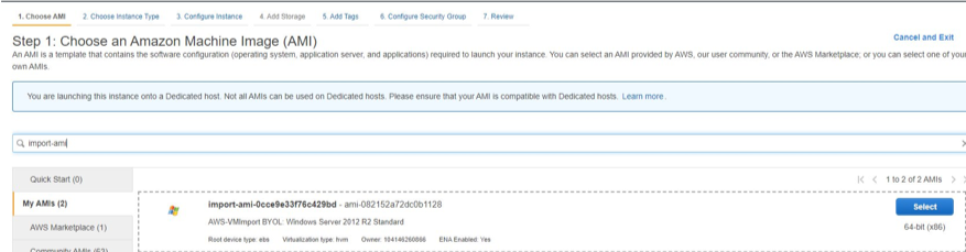 Console Screenshot Launch Instance under EC2, select the imported AMI under My AMI