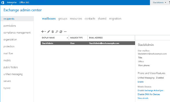 Screenshot of Exchange Administration Center