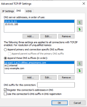 Add on-premises DNS servers' addresses and append DNS suffixes for AD domain name