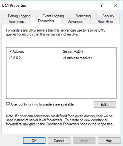 Configuring the Windows DNS server forwarder settings