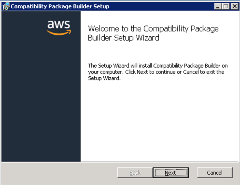 <alt_text: Start the Compatibility Package Builder Setup Wizard>