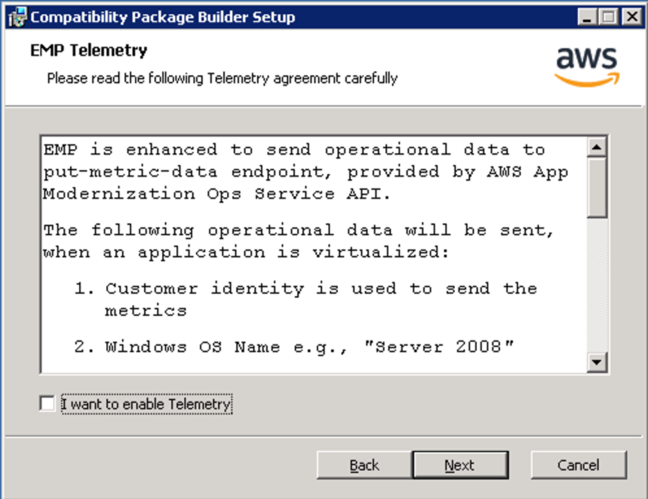 <alt_text: Read and accept the EMP Telemetry agreement>