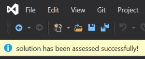 After an assessment has completed, you will see a message in the Visual Studio notification bar indicating that completion.