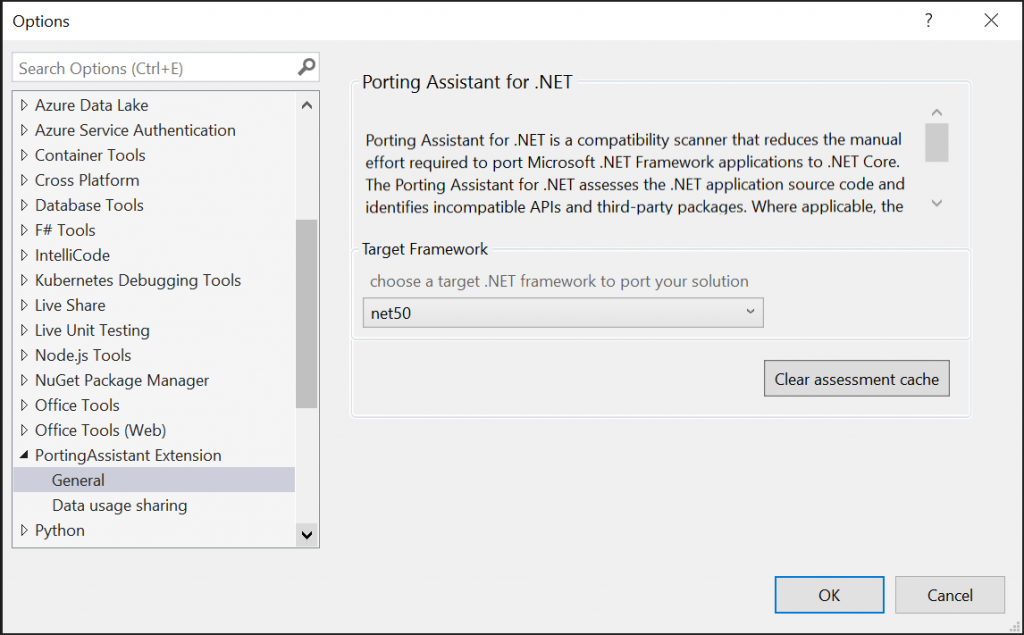 If you would like to make any changes to the behavior of the Porting Assistant, you can access the Porting Assistant's settings via the Tools, Options menu item.