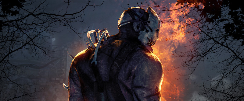 Killer from Dead by Daylight with fire in the background