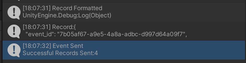 Image of the debug logs printed in the Unity game engine.