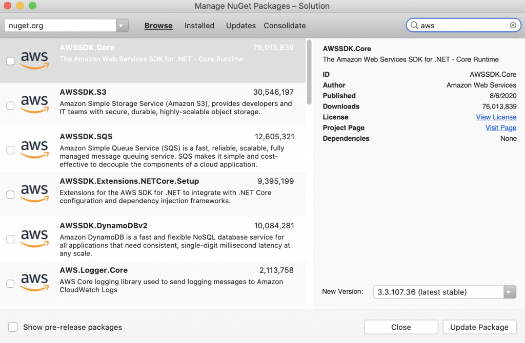 Image of the NuGet package manager for .NET in Visual Studio showing how to download necessary AWS .NET SDKs for the project, such as AWSSDK.Core.