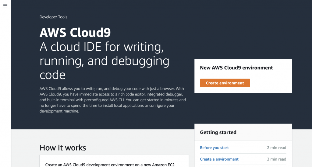 The AWS Cloud9 homepage in the AWS console.