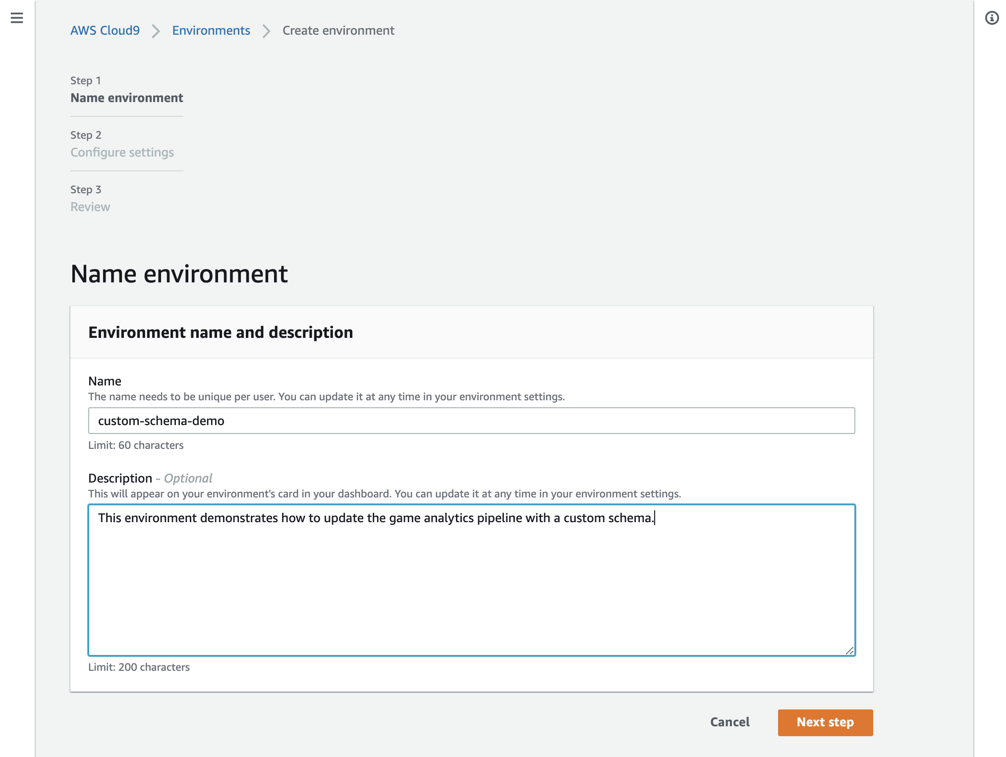 Image shows how to name the Cloud9 environment within the AWS console, providing a name and description field.