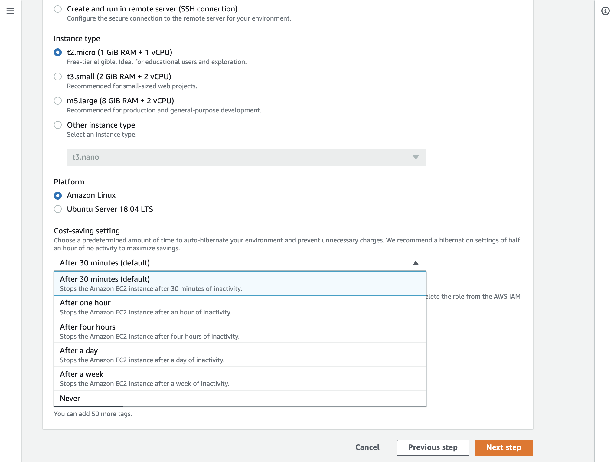 Image displays how to change cost-saving setting for EC2 hibernation of the Cloud9 environment.