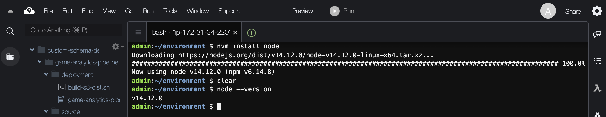 "Results of installing the latest version of Node using ""nvm install node"" and checking the version with node --version."