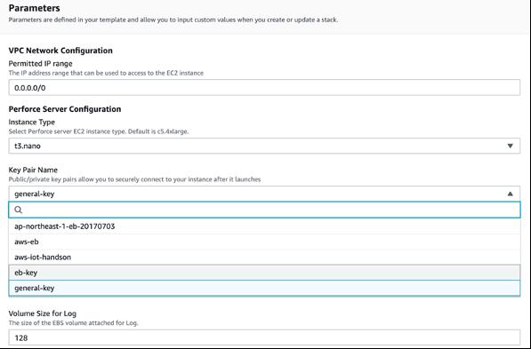 """Screenshot of """"Parameters"""" screen"""