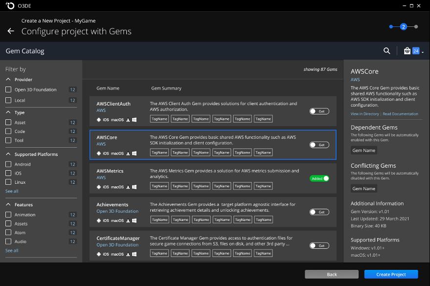 O3DE Gem Catalog in the O3DE Project Manager tool