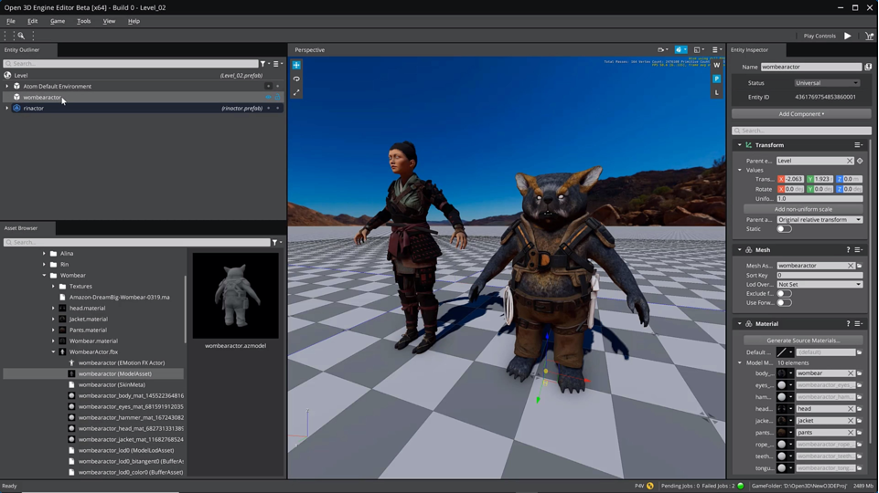 Character models in the O3DE Editor