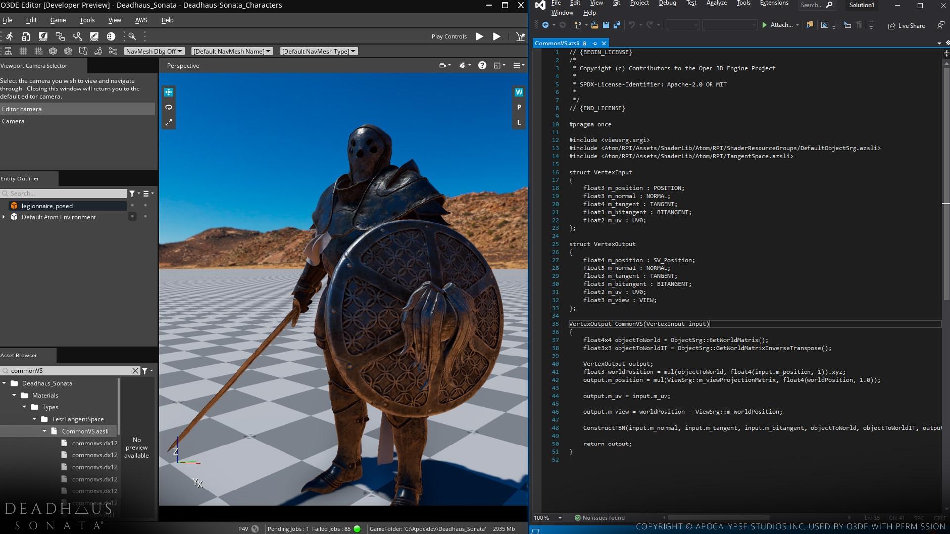 An Amazon Shader Language (AZSL) file open next to the O3DE Editor.