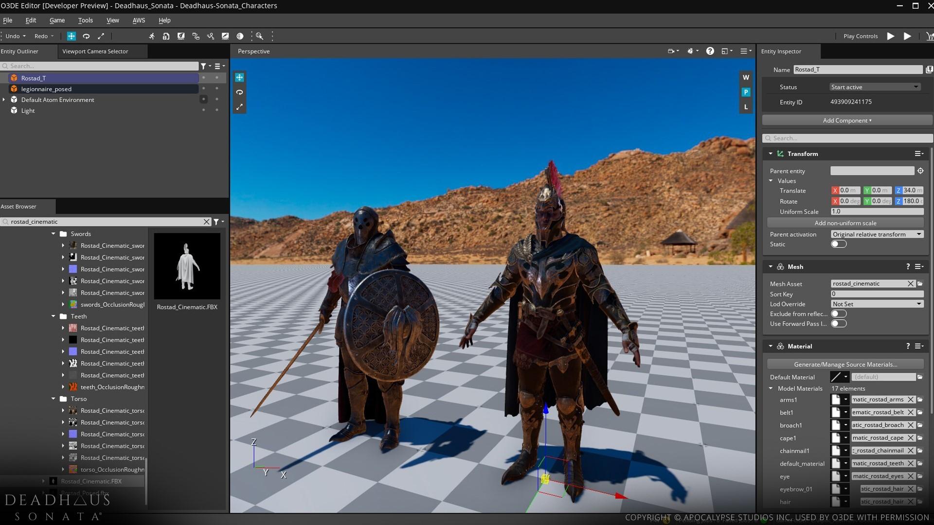 Apocalypse Studios character models in the O3DE Editor.