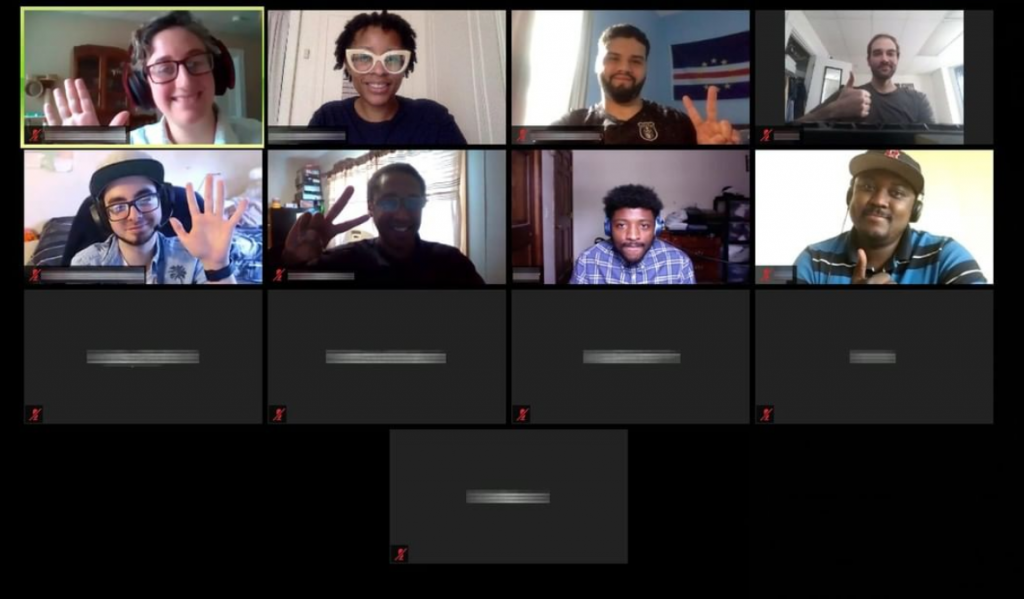 Tiled image of AWS re/Start participants waving hello to each other on their virtual class