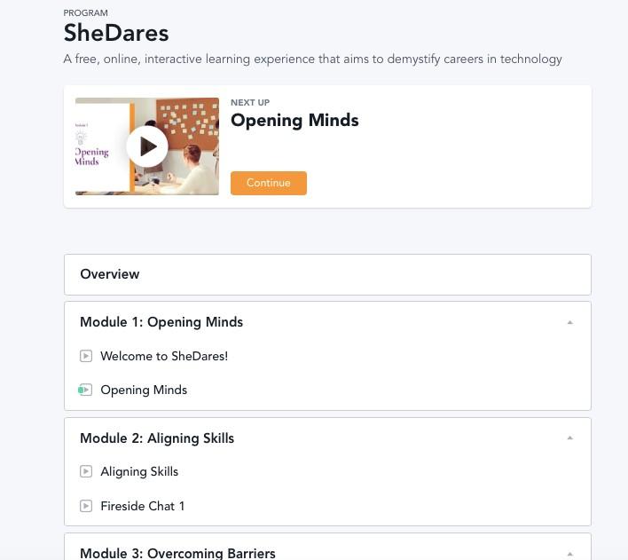 Screenshot of the SheDares learning modules