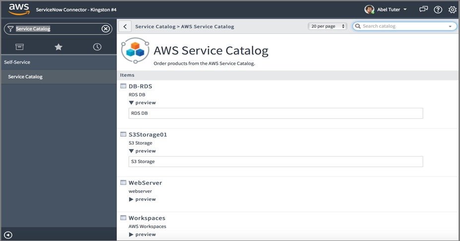 Service Catalog standard view 2