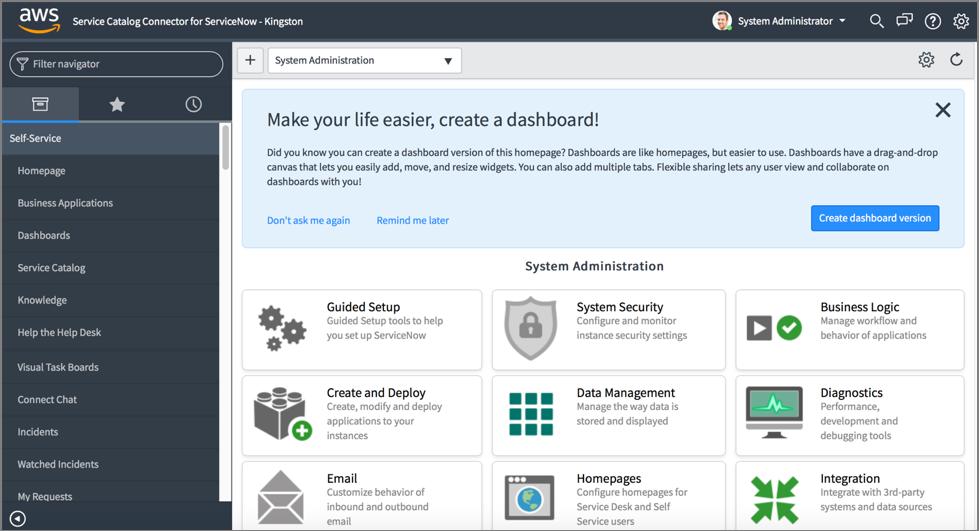 ServiceNow standard user interface