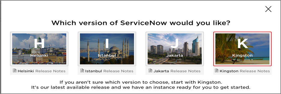 select ServiceNow release