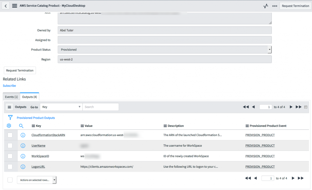 Screenshot - ServiceNow AWS Service Catalog product for MyCloudDesktop, Outputs tab.