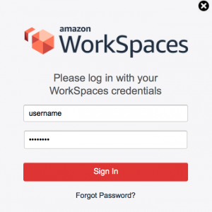Screenshot - Amazon WorkSpaces client login screen.