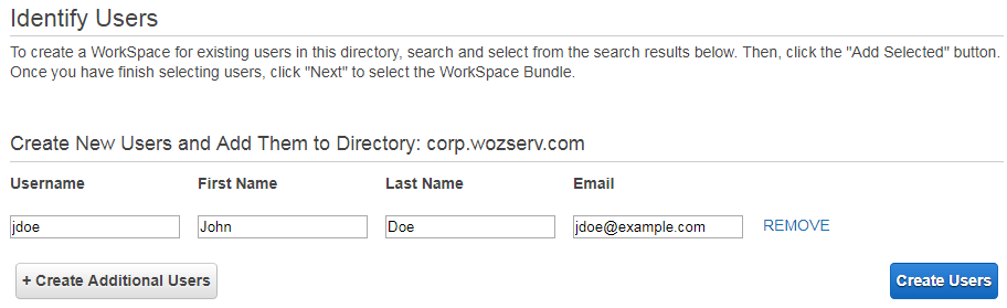 Screenshot - Step 4 - Enter username, first name, last name and email address.