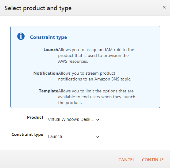 Screenshot - Select product and type window