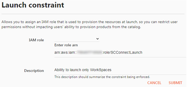 Screenshot - Specify IAM role and description for the Launch Constraint
