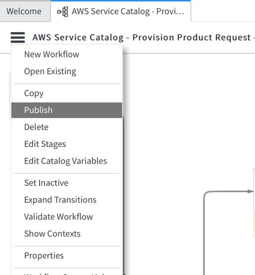 choose publish ServiceNow AWS Service Catalog