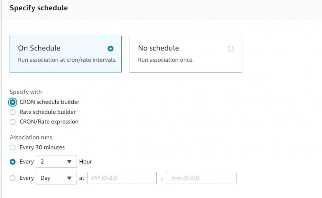 Schedule for AWS Systems Manager State Manager