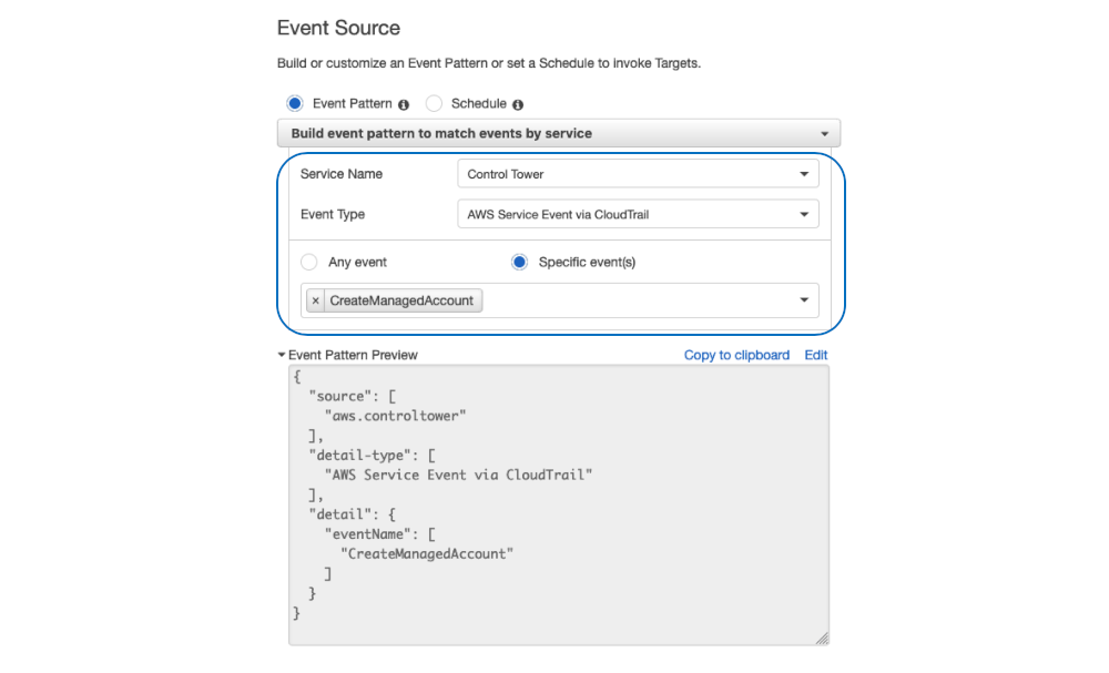 Screenshot of Amazon CloudWatch Events rule creation - Event source