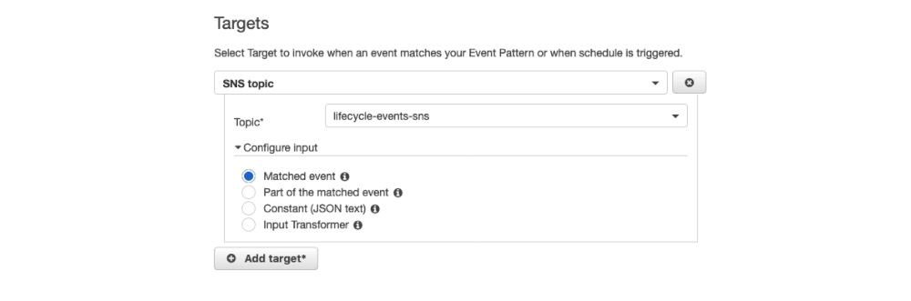 Screenshot of Amazon CloudWatch Events rule creation - Targets