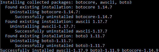 Console window showing output of pip install --upgrade awscli and boto3