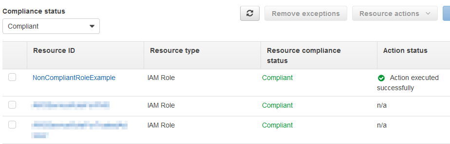 Example of remediated IAM Role, now compliant