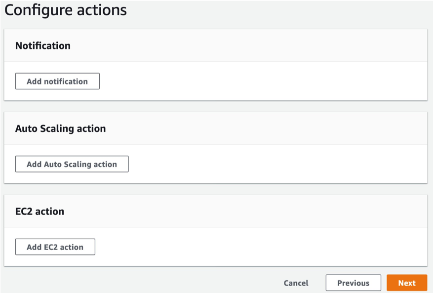 Options to configure Actions to be taken when the alarm state changes. Actions include Notifications, Auto Scaling actions and EC2 actions. We don't select any actions for the metric alarms.
