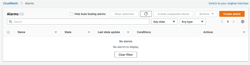 Alarms overview in the CloudWatch console showing a detailed list of current alarms and the option to create a new alarm.