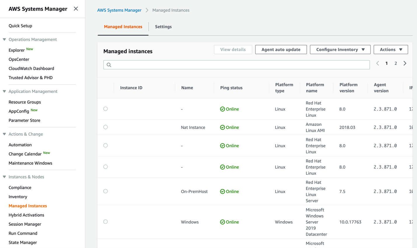 AWS Systems Manager console showing Managed Instances panel under Instances & Nodes. Managed instances includes on-premises hosts and EC2 instances.