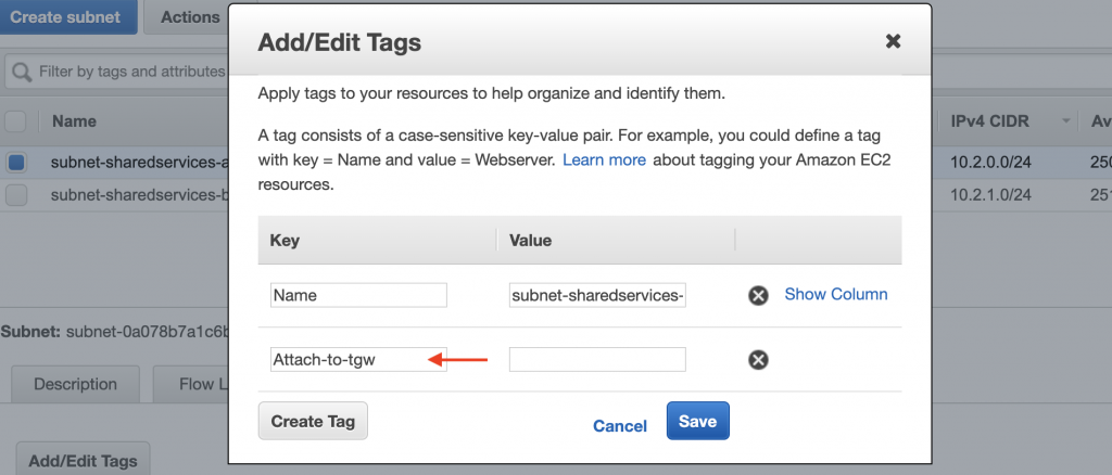 Tags for Shared Service subnet