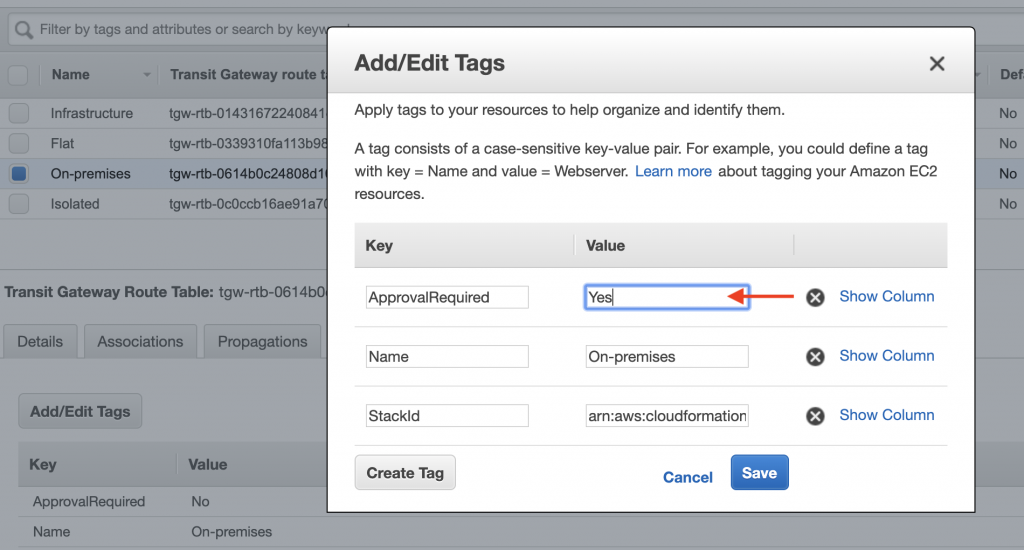 ApprovalRequired tag for On-premises route table