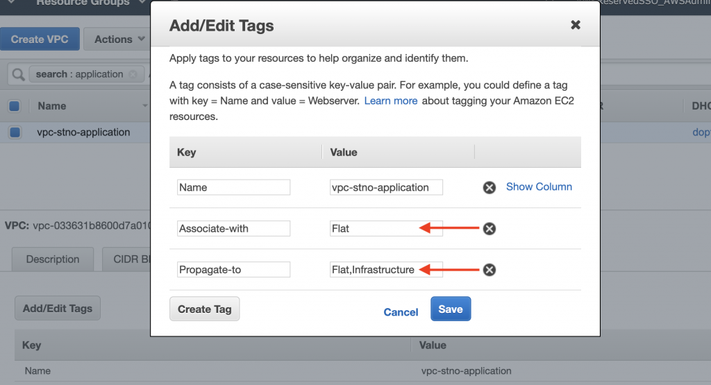 Tags for Applications VPC